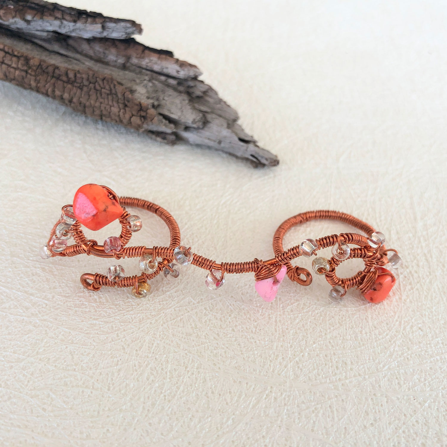Play - Pink Corals Finger Lace Ring