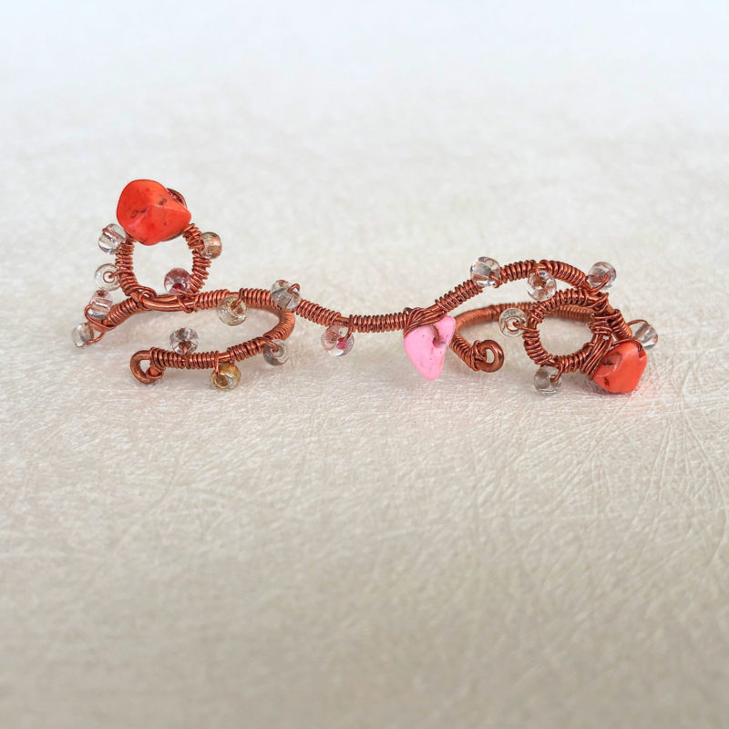 Play - Coral Finger Lace Ring