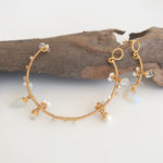 Arc Tiny Pearls, Opalites & Gold Quartz Earrings