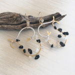 Strong Black Onyx Moonstone Gold Quartz Earrings
